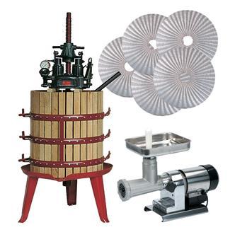Set für die Herstellung von Öl mittels hydraulischer Presse mit zentraler Schraube
