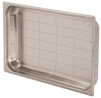 Edelstahl-Gastrobehälter GN1/1, gelocht, Höhe 6,5cm, EN631