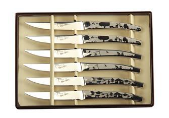 Set aus 6 Steakmessern, in natürlichem Dekor