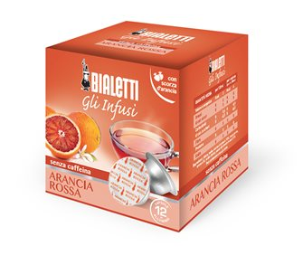 Box mit 12 Kapseln Bialetti Teemischung Blutorange.