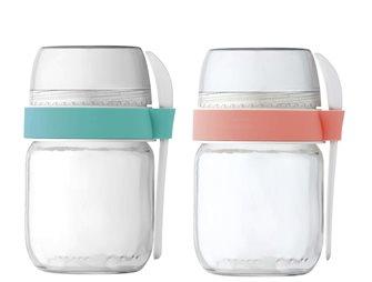 2 To-Go Joghurtbecher mit 2 Unterteilungen für Joghurtbereiter Koralle und Grün