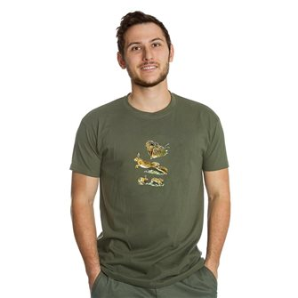 Tee shirt homme Bartavel Nature kaki sérigraphie 1 lièvre au repos et 1 lièvre en course M
