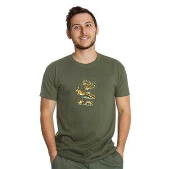 Tee shirt homme Bartavel Nature kaki sérigraphie 1 lièvre au repos et 1 lièvre en course XL