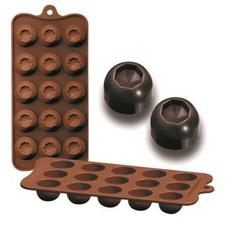 Form aus Silikon für 10 Schokoladendiamanten