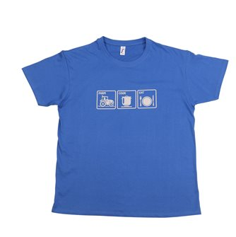 T-Shirt M Farm Cook Eat Tom Press blau mit grauem Aufdruck