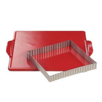 Plaque à four et cadre carré perforé cannelé pour tartes et gâteaux