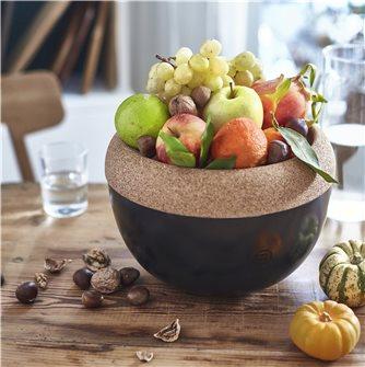Coupe à fruits haute 4,7 l. Emile Henry bol de conservation céramique noir Truffe plateau liège